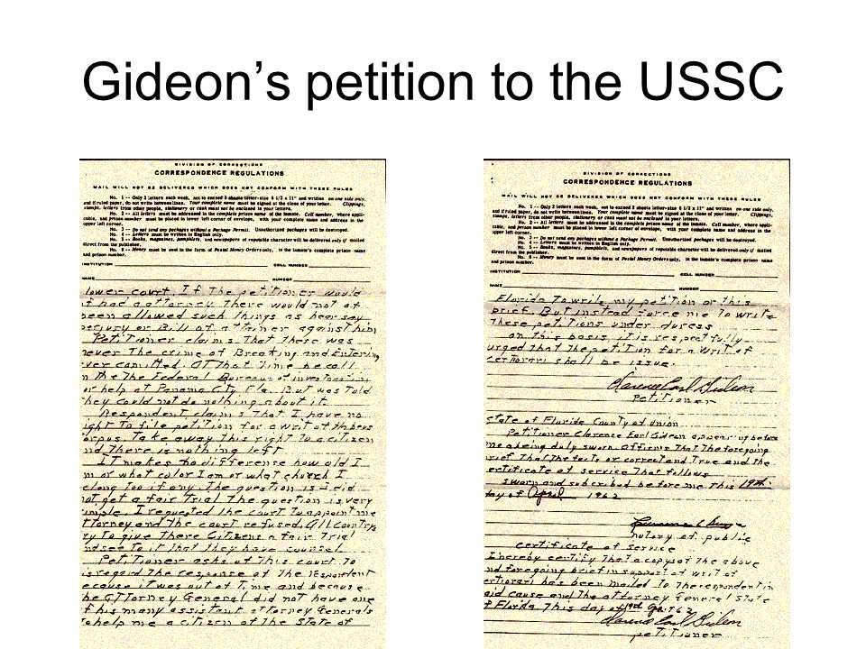 Gideon's petition to the USSC