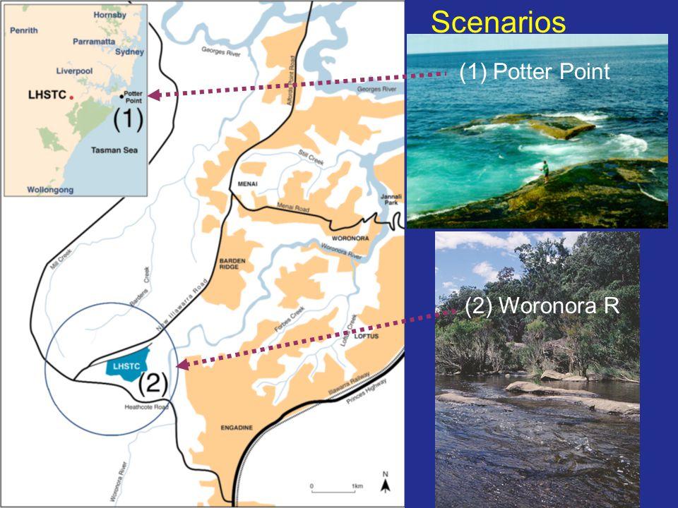 Scenarios (1) Potter Point (2) Woronora R