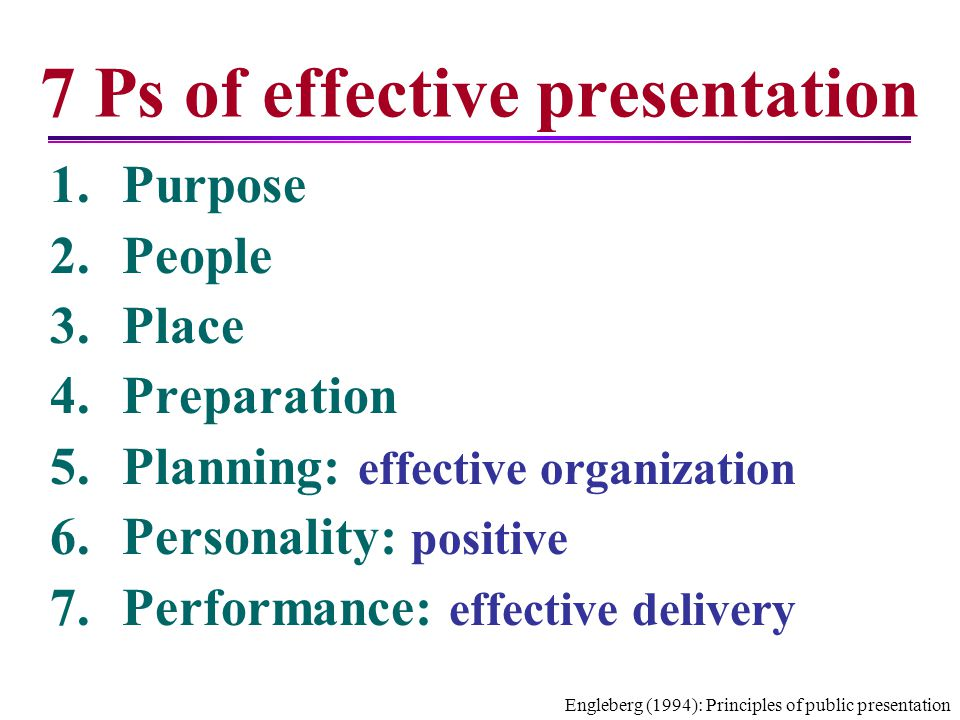 7 Ps of effective presentation