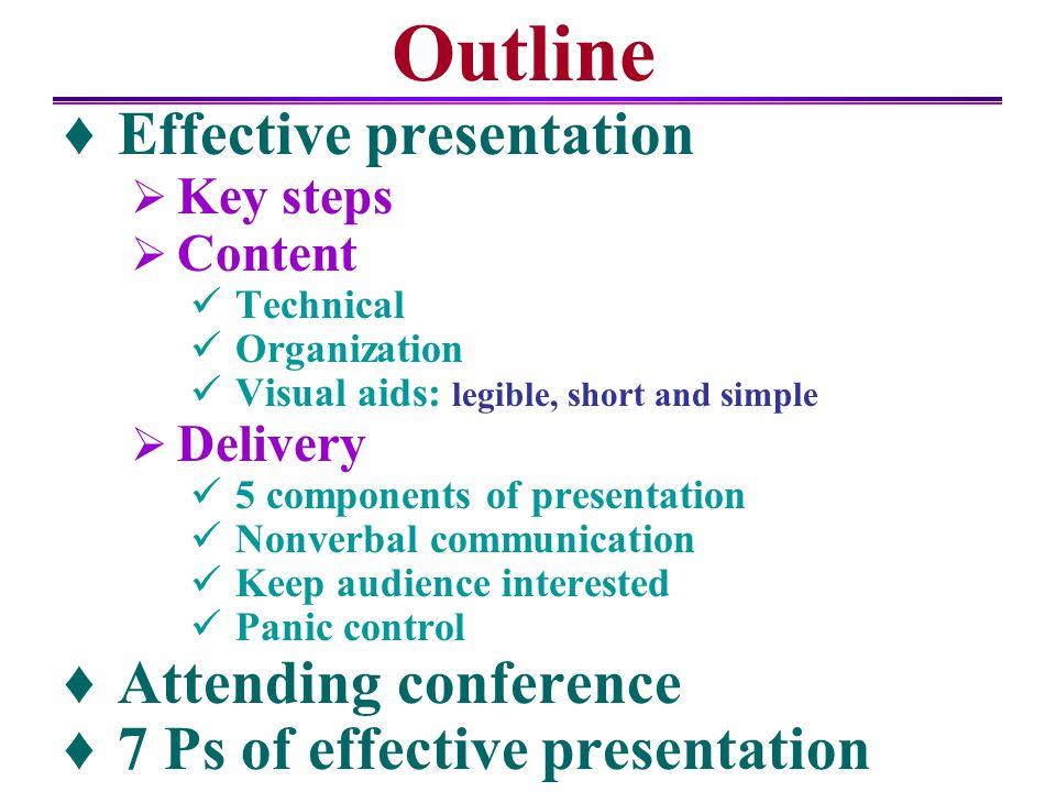 Outline Effective presentation Attending conference