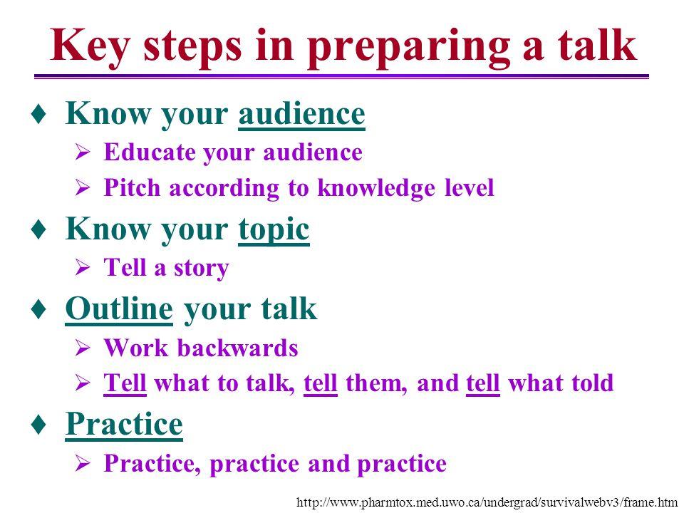 Key steps in preparing a talk