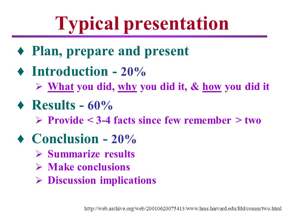 Typical presentation Plan, prepare and present Introduction - 20%