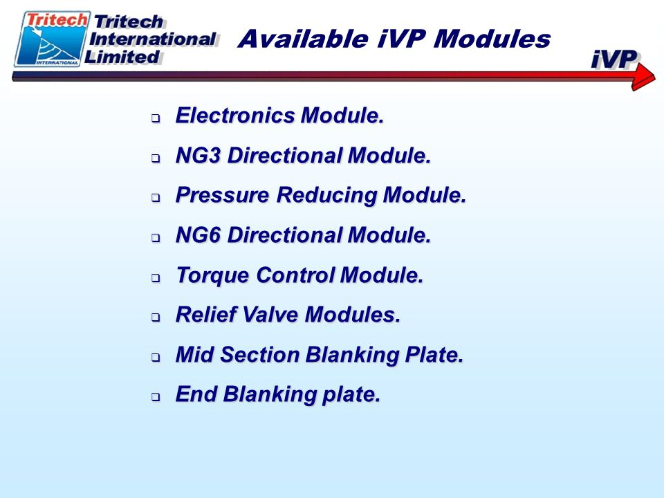 Available iVP Modules Electronics Module. NG3 Directional Module.