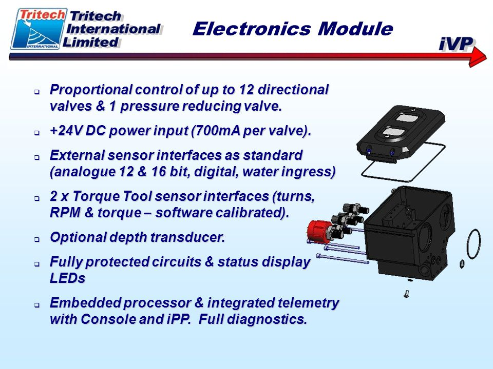 Electronics Module Proportional control of up to 12 directional valves & 1 pressure reducing valve.