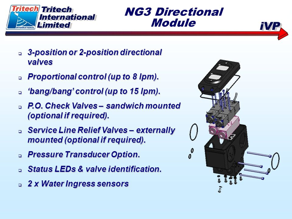 NG3 Directional Module 3-position or 2-position directional valves