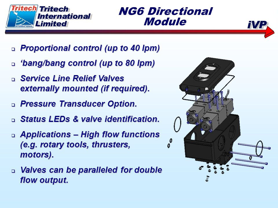 NG6 Directional Module Proportional control (up to 40 lpm)