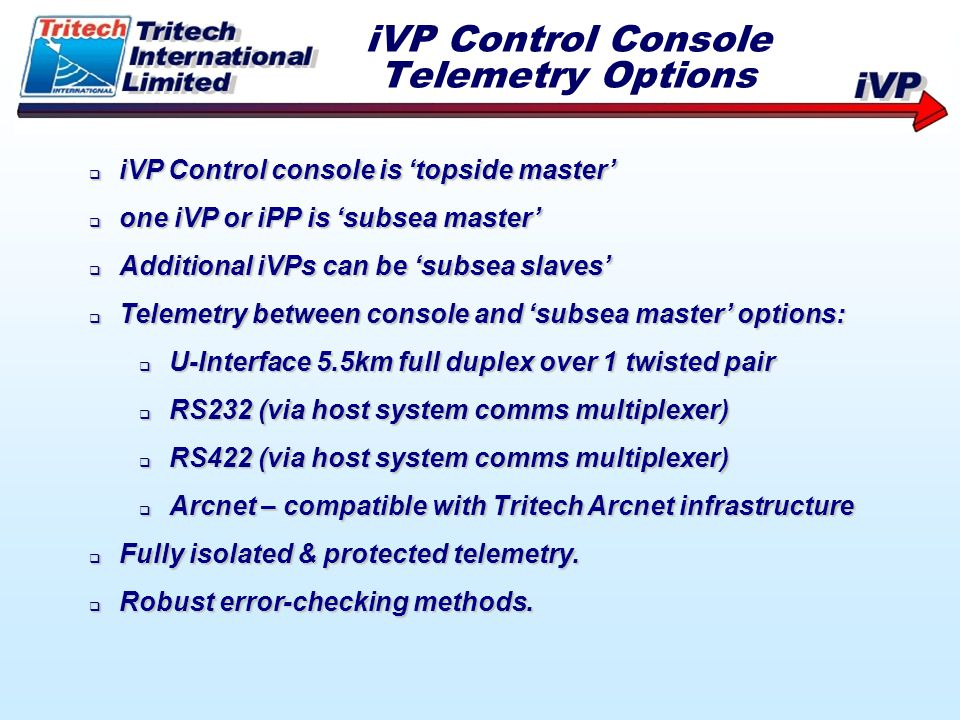 iVP Control Console Telemetry Options