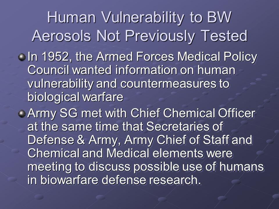 Human Vulnerability to BW Aerosols Not Previously Tested