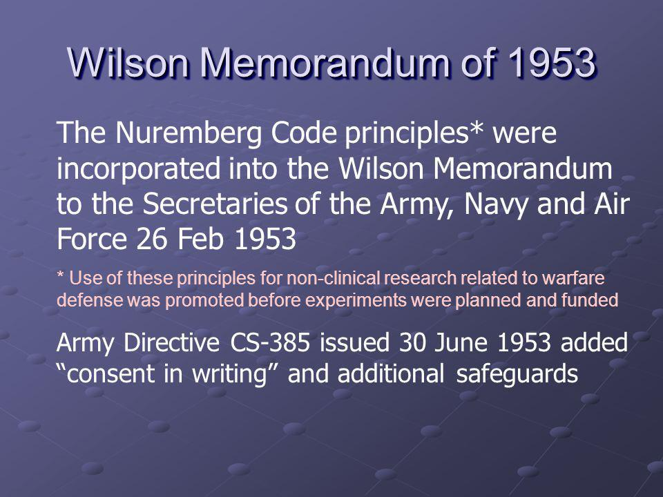 Wilson Memorandum of 1953