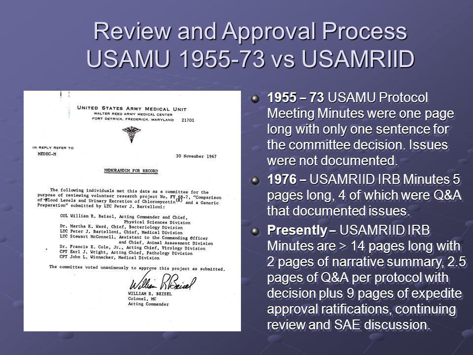 Review and Approval Process USAMU 1955-73 vs USAMRIID