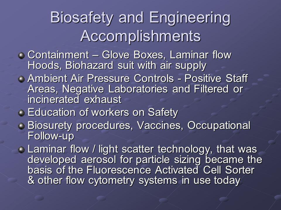 Biosafety and Engineering Accomplishments