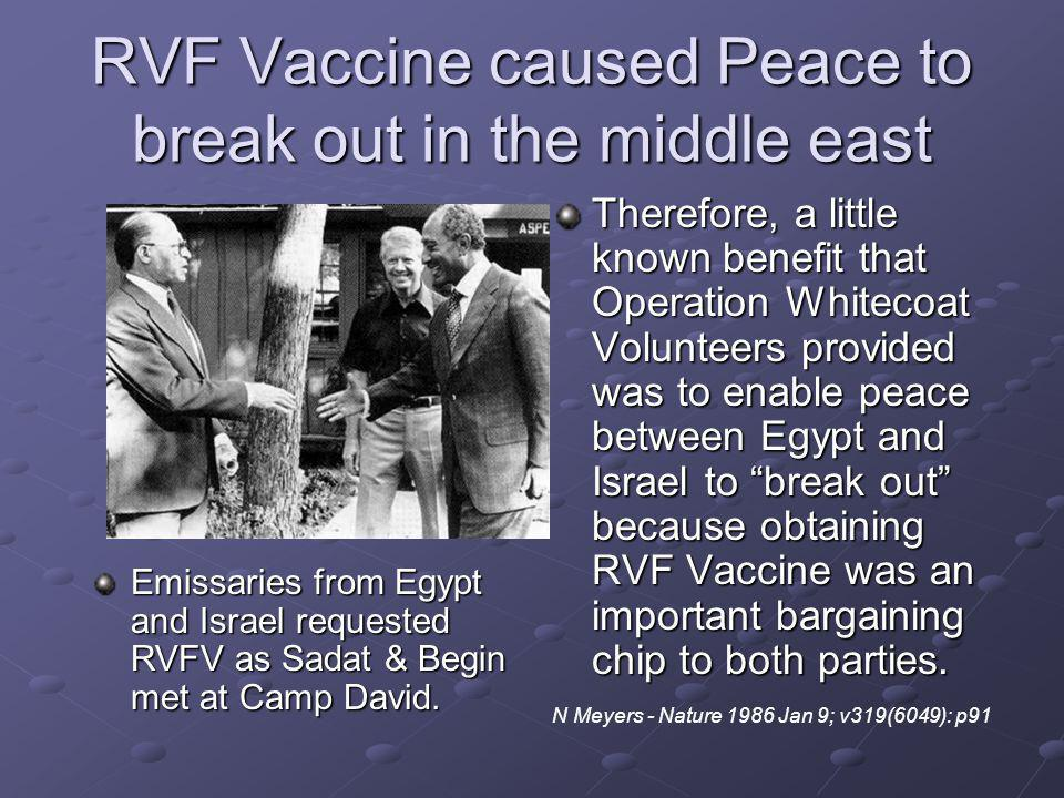 RVF Vaccine caused Peace to break out in the middle east