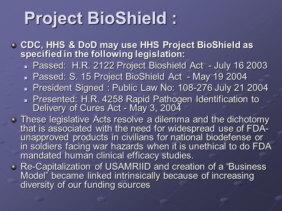 Project BioShield : CDC, HHS & DoD may use HHS Project BioShield as specified in the following legislation: