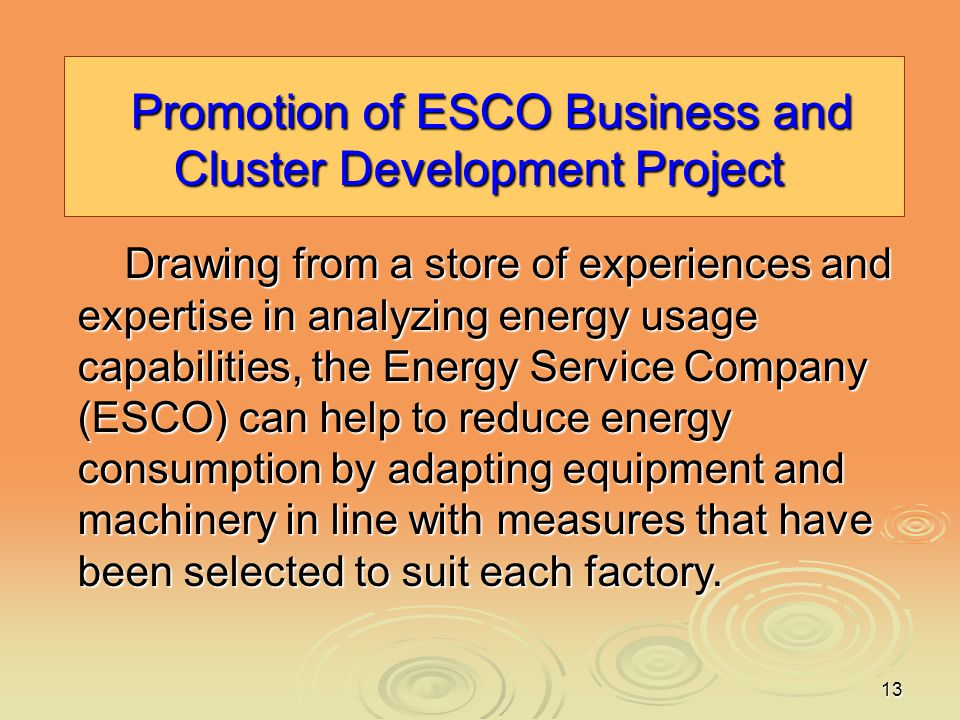 Promotion of ESCO Business and Cluster Development Project