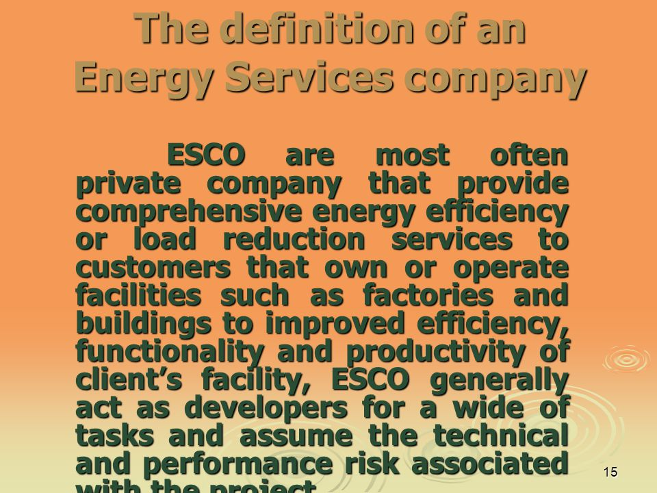 The definition of an Energy Services company