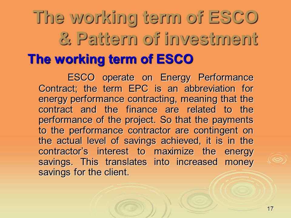 The working term of ESCO & Pattern of investment