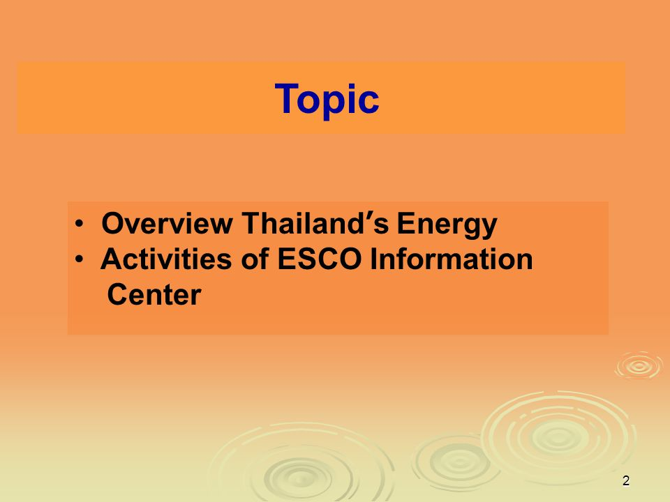 Topic Overview Thailand's Energy Activities of ESCO Information Center