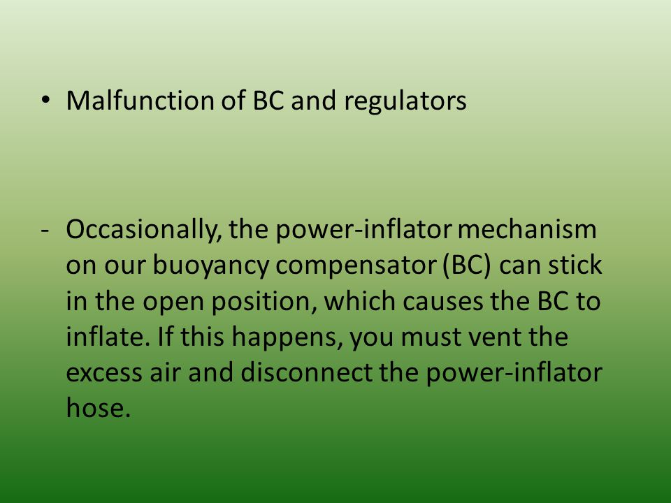 Malfunction of BC and regulators