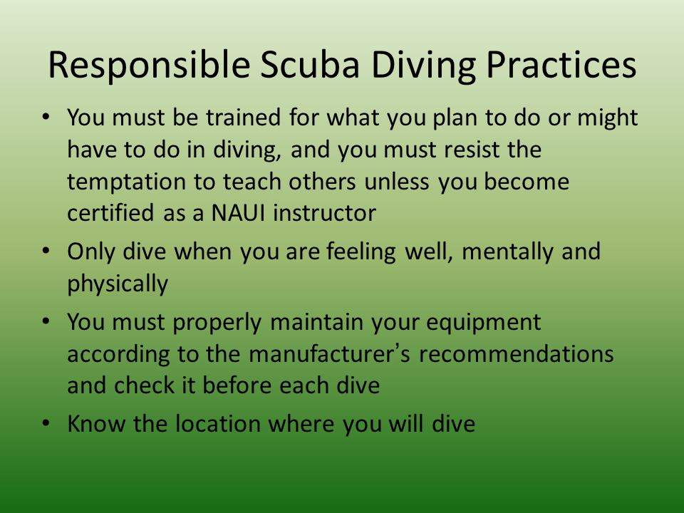 Responsible Scuba Diving Practices