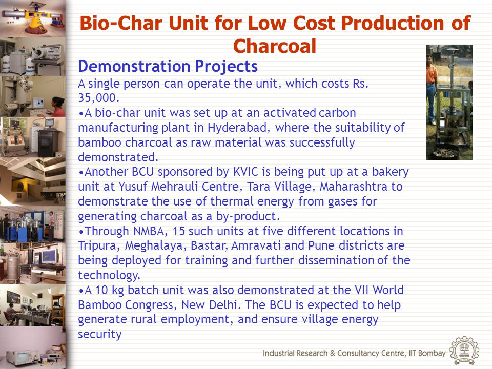 Bio-Char Unit for Low Cost Production of Charcoal