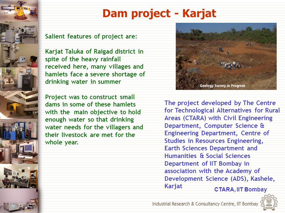 Dam project - Karjat Salient features of project are: