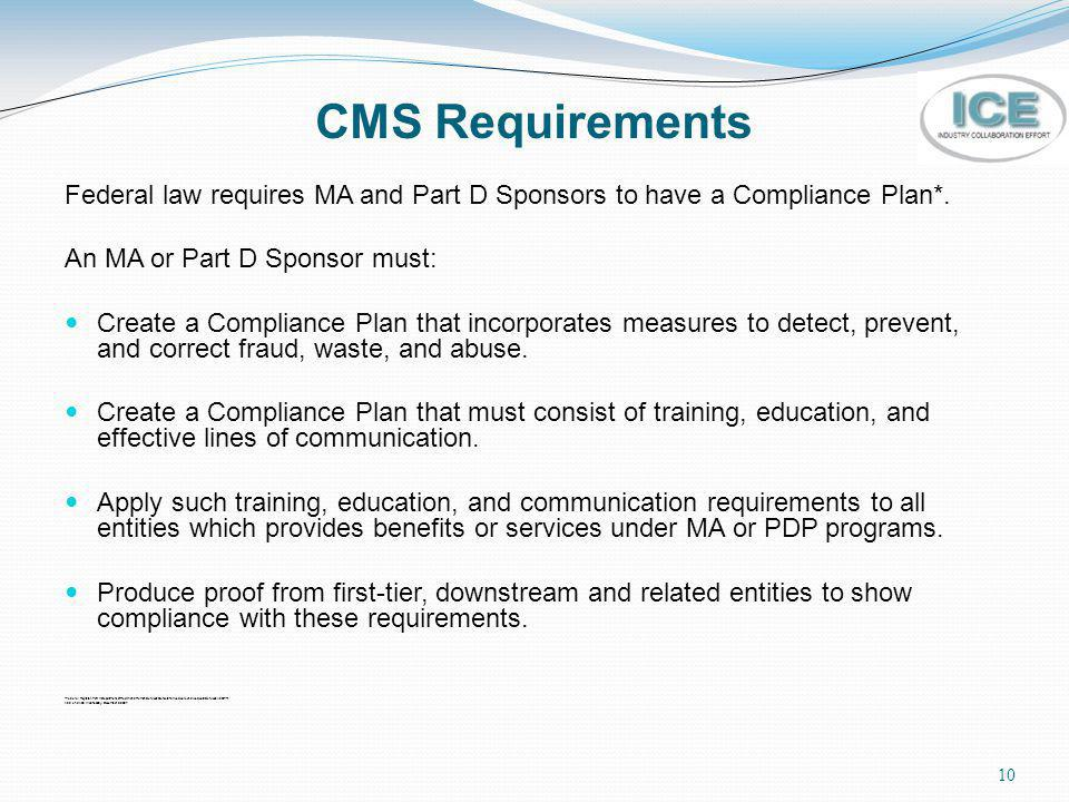 CMS Requirements Federal law requires MA and Part D Sponsors to have a Compliance Plan*. An MA or Part D Sponsor must: