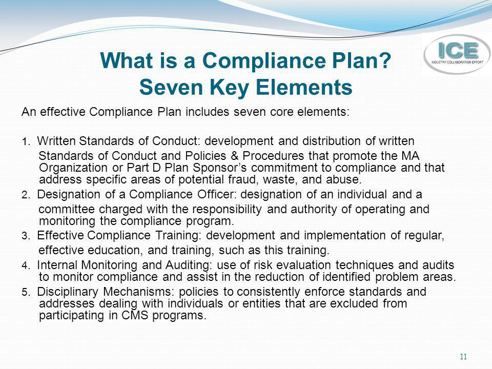 What is a Compliance Plan Seven Key Elements