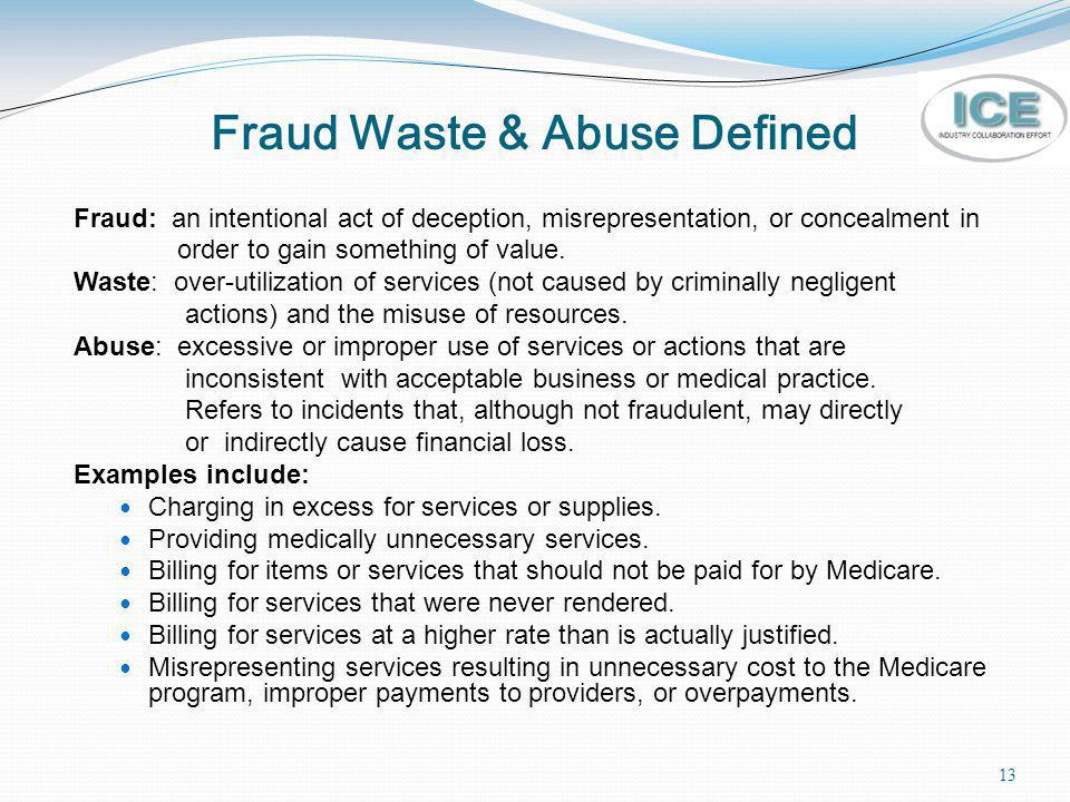 Fraud Waste & Abuse Defined