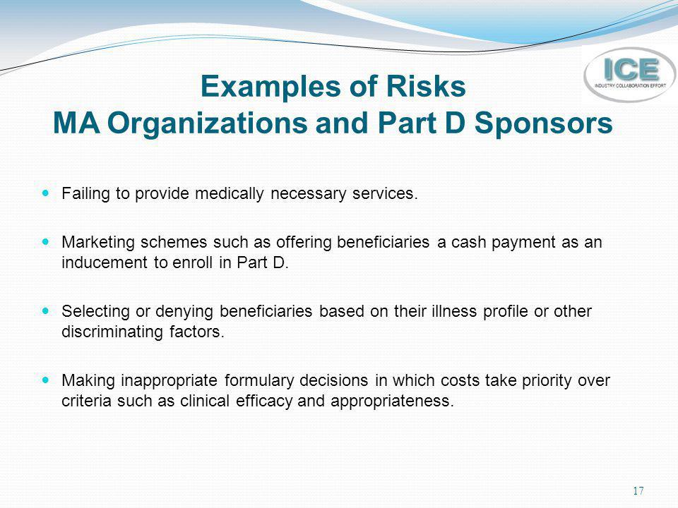 Examples of Risks MA Organizations and Part D Sponsors