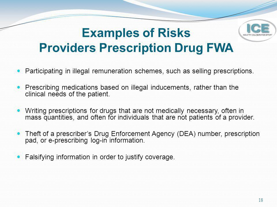 Examples of Risks Providers Prescription Drug FWA