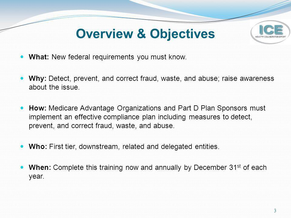 Overview & Objectives What: New federal requirements you must know.