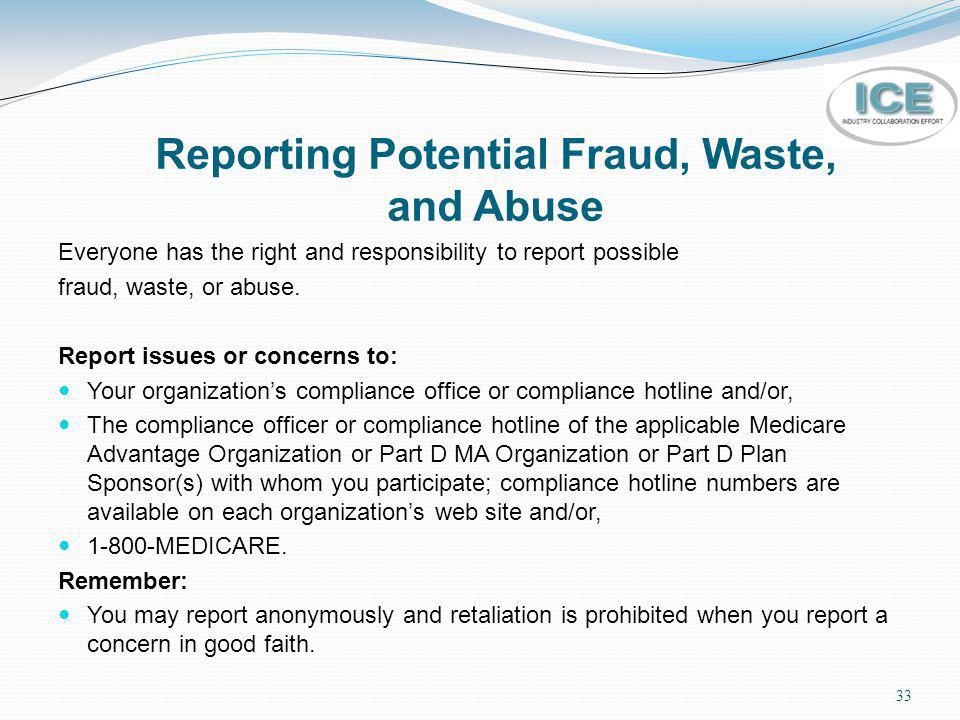 Reporting Potential Fraud, Waste, and Abuse