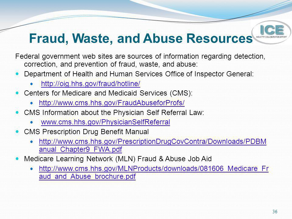 Fraud, Waste, and Abuse Resources