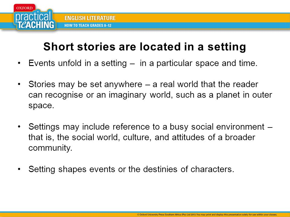 Short stories are located in a setting