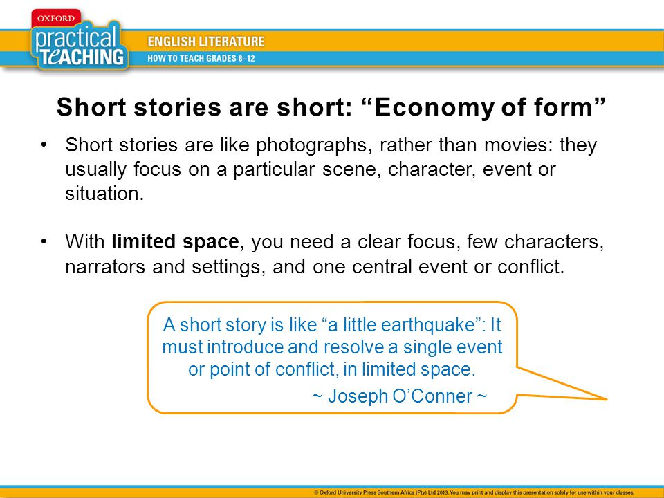 Short stories are short: Economy of form