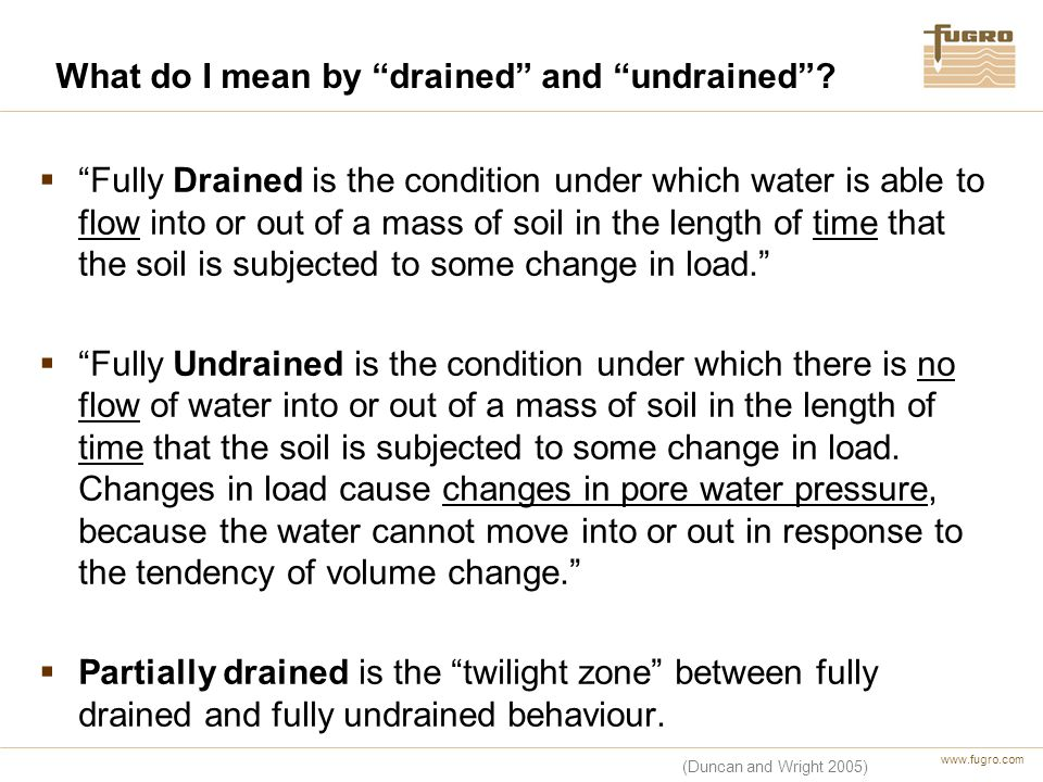 What do I mean by drained and undrained