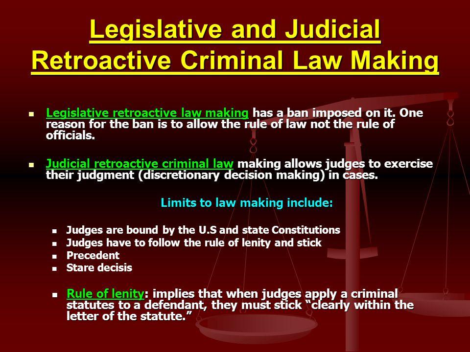 Legislative and Judicial Retroactive Criminal Law Making