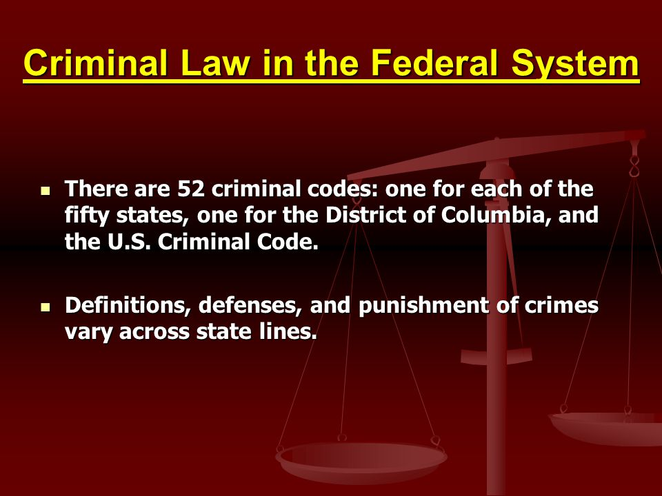 Criminal Law in the Federal System