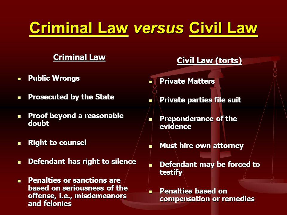Criminal Law versus Civil Law