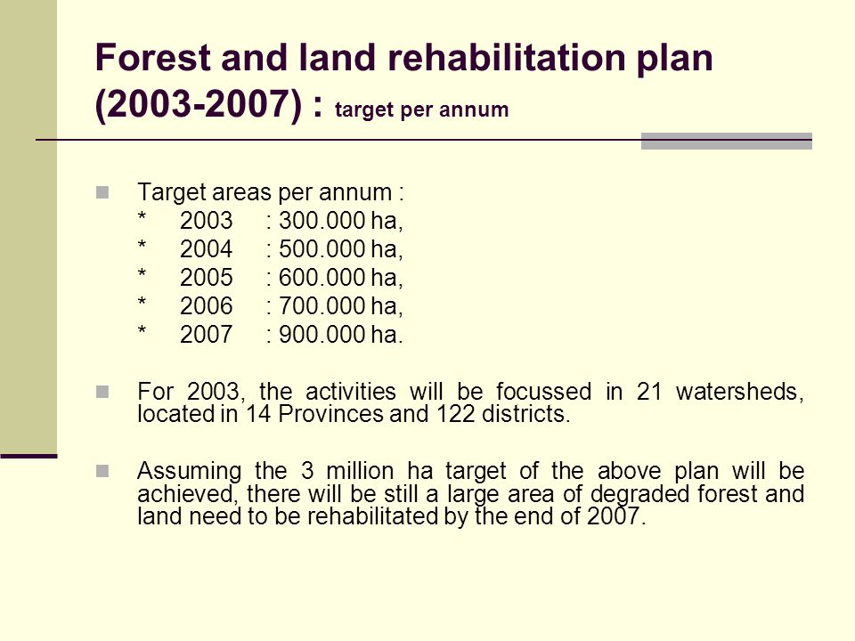 Forest and land rehabilitation plan (2003-2007) : target per annum