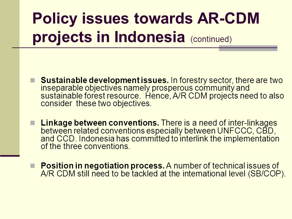 Policy issues towards AR-CDM projects in Indonesia (continued)