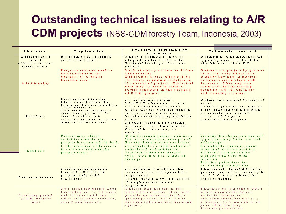Outstanding technical issues relating to A/R CDM projects (NSS-CDM forestry Team, Indonesia, 2003)