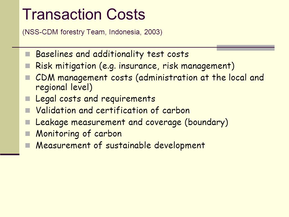 Transaction Costs (NSS-CDM forestry Team, Indonesia, 2003)