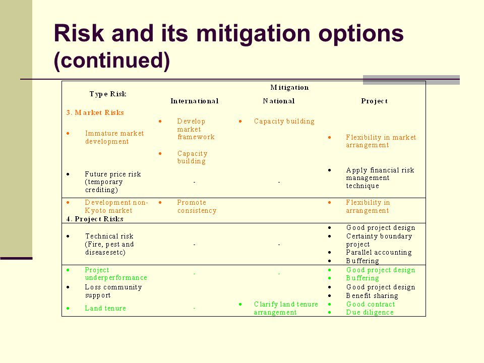 Risk and its mitigation options (continued)