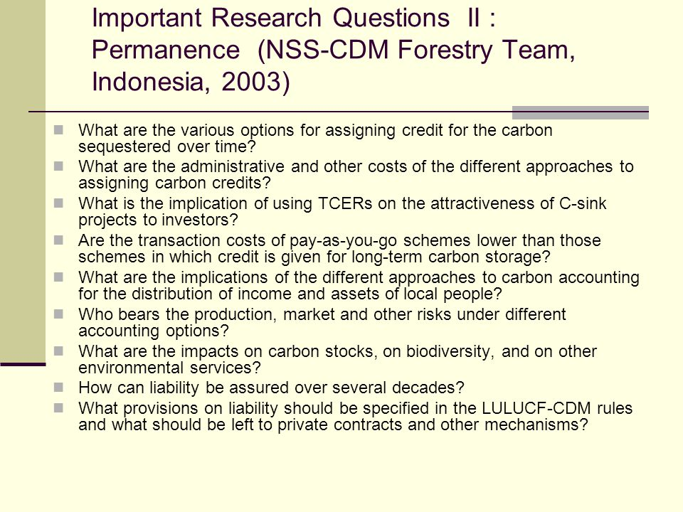 Important Research Questions II : Permanence (NSS-CDM Forestry Team, Indonesia, 2003)