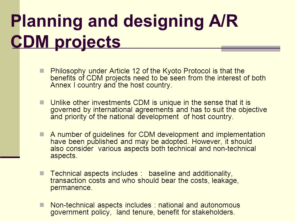 Planning and designing A/R CDM projects