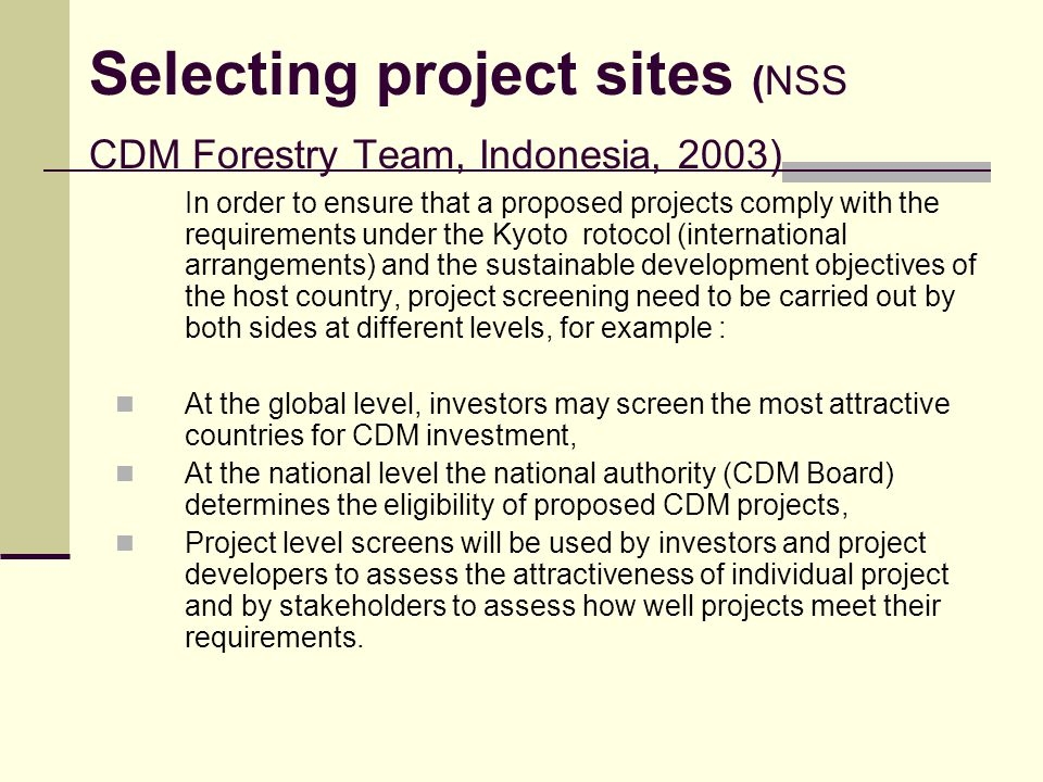 Selecting project sites (NSS CDM Forestry Team, Indonesia, 2003)