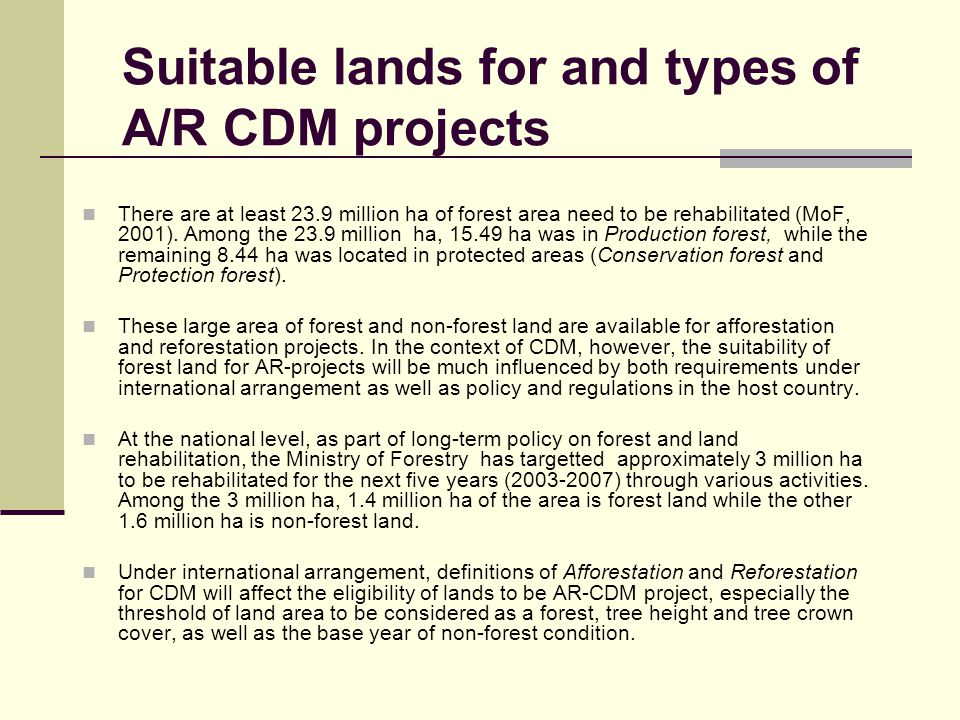 Suitable lands for and types of A/R CDM projects