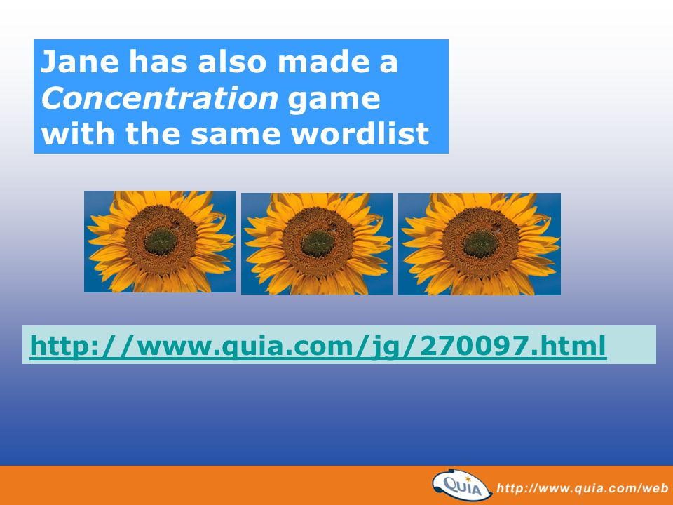 Jane has also made a Concentration game with the same wordlist
