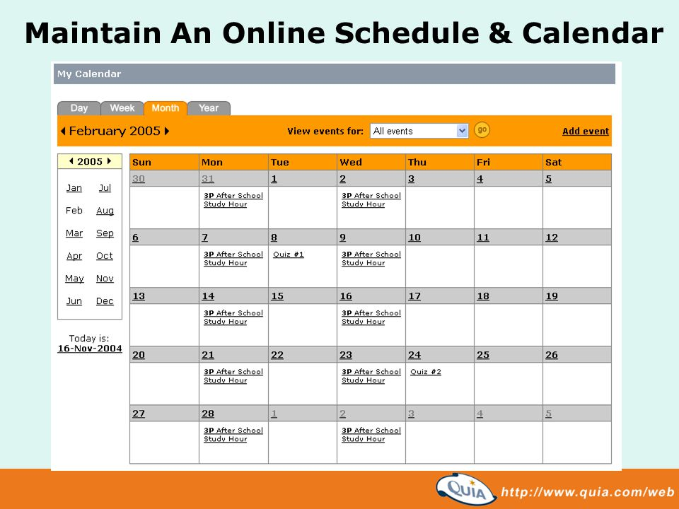 Maintain An Online Schedule & Calendar